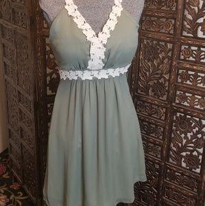 Dresses & Skirts - Boho Olive Green Satin and Chiffon Floral Dress